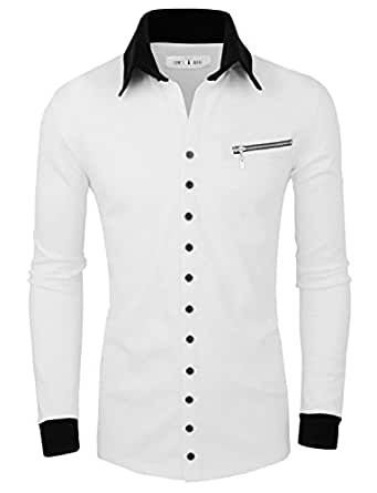 Tom's Ware Col contraste Button up Cardigan-Hommes TWNSS088G-WHITE-2XL (US XL)