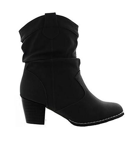 Damen Stiefeletten Cowboy Western Stiefel Boots Schlupfstiefel Schuhe 37 (39, Schwarz)