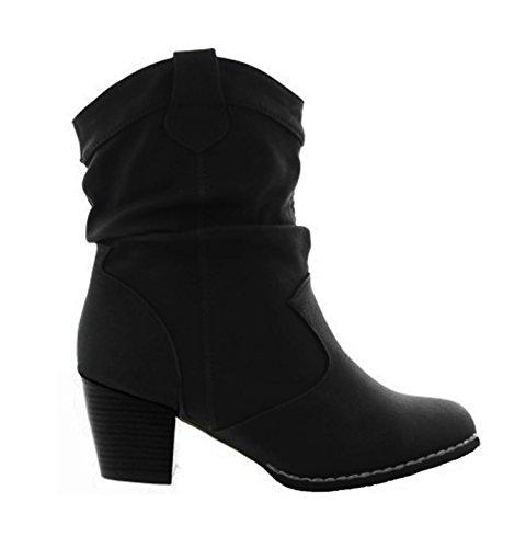 King Of Shoes Damen Stiefeletten Cowboy Western Stiefel Boots Schlupfstiefel Schuhe 37 (38, Schwarz)