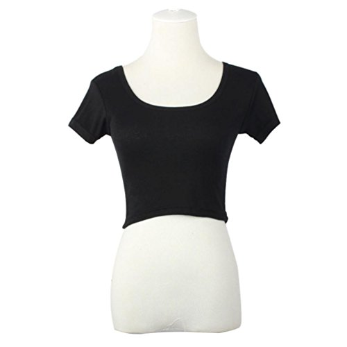 Chemise Femme, Kolylong® ÉTé Manches Courtes Femmes Sexy Basic T-Shirts Tops RecadréE T-Shirt Blouse Noir