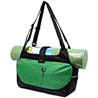 AHIMITSU Packable Bolso de Yoga Yoga Mat Bolsa de Deporte Bolso de Deporte Holdall Travel Weekender Duffel Bag (Verde) para Deportes