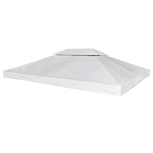 vidaXL Toile Imperméable de Rechange pour Tonnelle 4x3 m Blanc Crème Bâche