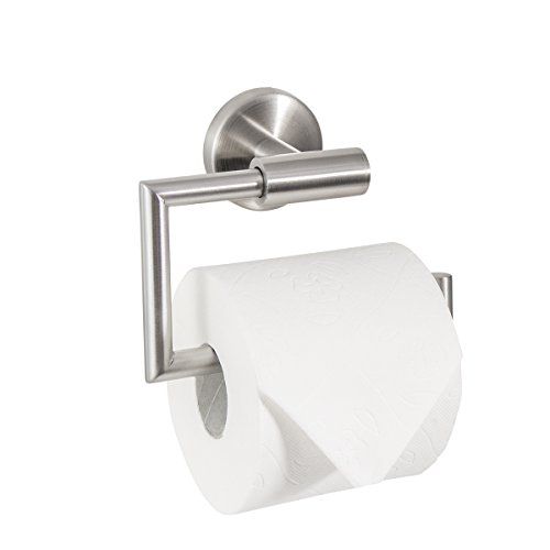 Badserie FIRENZE - Toilettenpapierhalter, WC-Rollenhalter, Klopapierhalter | robuster Edelstahl matt | zur Wandmontage inklusive Schrauben | auch zum Kleben geeignet - separat erhältlich