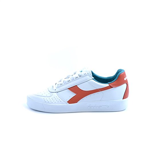 Diadora B.Elite hommes, cuir lisse, sneaker low White/Fiesta Red/Porcelain Green