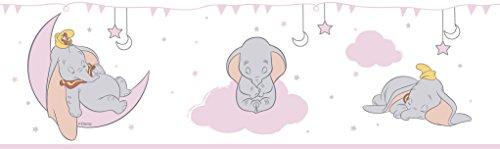 Rasch Textil selbstklebende Papierborte Bordüre - Kollektion Disney Fantasy Deco U35202 Dumbo Elefant weiß rosa