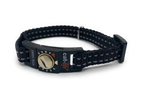 cat-life Halsband für Katzen Sicherheitshalsband Katzenhalsband mit Sicherheitsverschluss individuell einstellbar (Classic Black, über 4 kg Verschluss gelb)