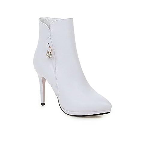 AllhqFashion Femme Zip Pointu Stylet Pu Haut Bas Bottes, Blanc, 37