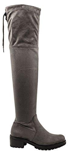 Stivali Da Donna Elara | Overknees A Maniche Lunghe Comode | Blocco Grigio Scamosciato Tacco Look Parigi