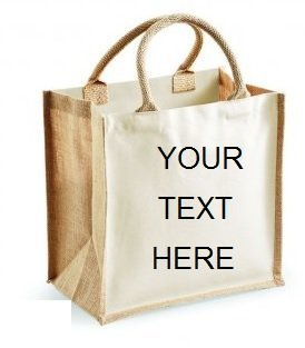 Personalised Embroidered Classic Jute Tote Canvas Shopping Bag Beach Holiday