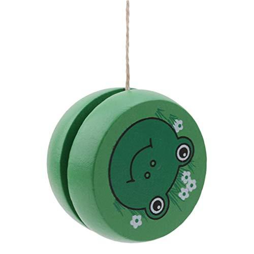 Quality Yo Yo Spielzeug Green Frog Pattern Holz Responsive Yoyos für Anfänger Kinder Spielzeug Speed ??Ball Return für Geschenke ()