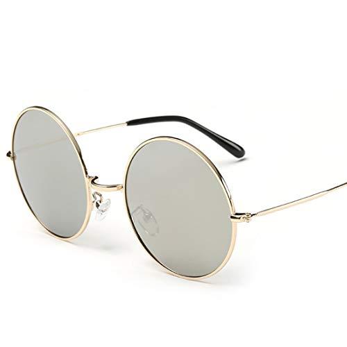 Shiduoli Runde mental Sonnenbrillen für Männer Frauen Radfahren Laufen Fahren Angeln Golf Runde Retro Kreis-Art-Sonnenbrille farbigen Metallgestell (Color : Gray)