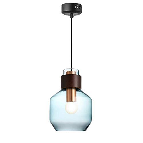 WLG Novely Chandeliers-Wood Decoration Pendelleuchte Blue Glass Lamp Shade Hängelampe Wohnzimmer Deckenleuchte 1-Flame Höhenverstellbare Pendelleuchte E27 Esstischlam