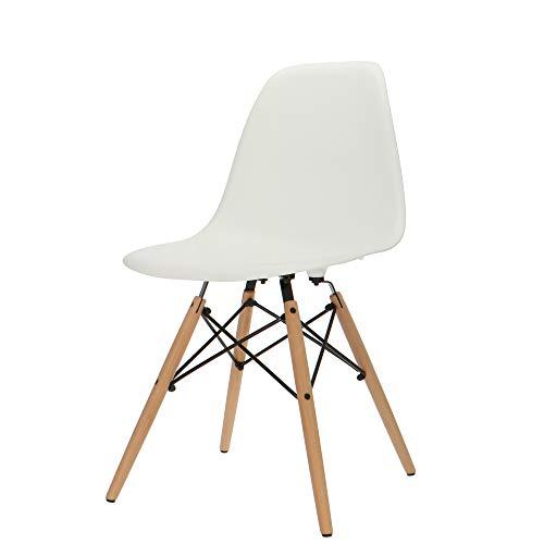 Popfurniture POP Designer DSW-Stuhl - Esszimmerstuhl, Wohnzimmerstuhl, Bürostuhl aus Kunststoff und Ahornholz | 47 x 53 x 83 cm | Weiß