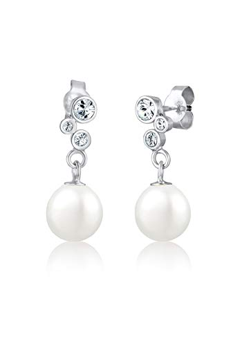 Elli Damen Ohrhänger Klassisch Basic Elegant 925 Sterling Silber Swarovski Kristalle weiß (Weiß-diamant-ohrringe 14k)