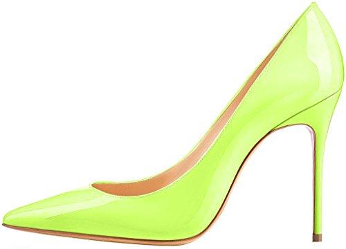 ELEHOT Femme 10cm Taille EU 34-46 Toyis Aiguille 10CM Synthétique Escarpins vert yellow
