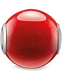 Thomas Sabo Damen-Bead KARMA Bambuskoralle 925 Silber Heliotrop rot - K0092-590-10