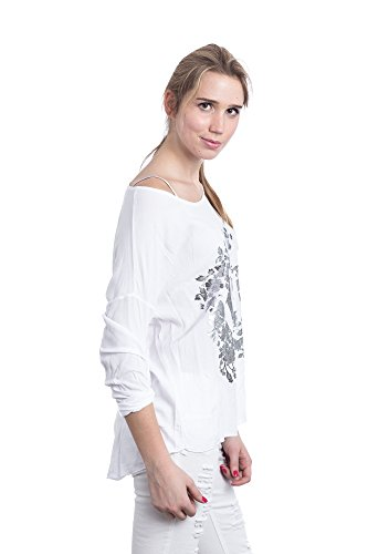 Abbino 822 Damen Shirts Tops - Made in Italy - 4 Farben - Übergang Frühling Sommer Herbst Basics Damenshirts Damentops Viskose Unifarbe Locker Lässig Langarm Sexy Sale Freizeit Elegant - One size Weiß