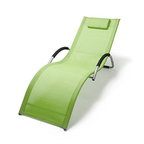 Wellnessliege Bahamas mit Armlehne   ergonomische Sonnenliege mit Kopfkissen   Saunaliege grün / grau   Gartenliege aus Alu wetterfest
