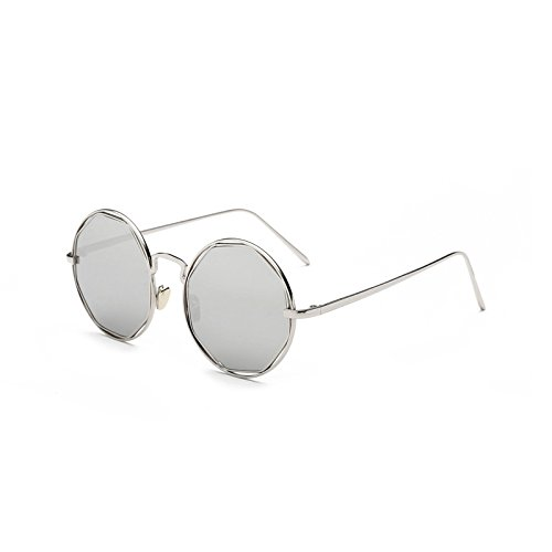 SUNGLASSES Neue Runde Sonnenbrille Sterne Mit Hohlen Metall Sonnenbrille Gesicht Runde Gesicht Mode Retro Fahrspiegel (Farbe : Silver Frame White Silver)