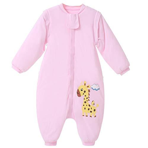 baby schlafsack winter schlafanzug mädchen junge mit fuße neugeboren baumwolle 2.5 tog mit fussen,bar. (90/98CM, Rosa)