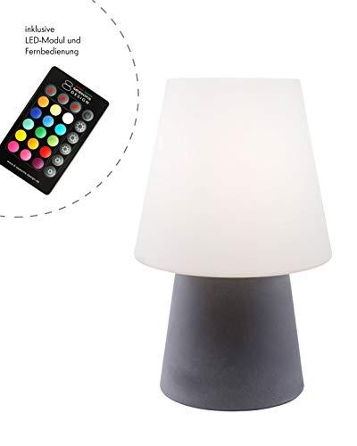 8 seasons design - Klassisch moderne Dekoleuchte No. 1 Grey  (60cm, LED, Farbwechsel, Fernbedienung, dimmbar, IP44,  Lampenschirm weiß,  für Haus & Garten) grau Design 8