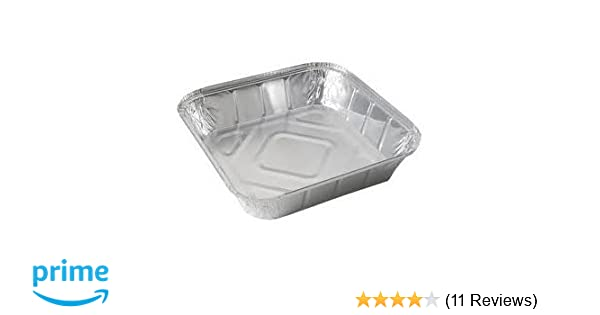 50 LARGE ALUMINIUM FOIL FOOD CONTAINERS TRAYS 9''x9