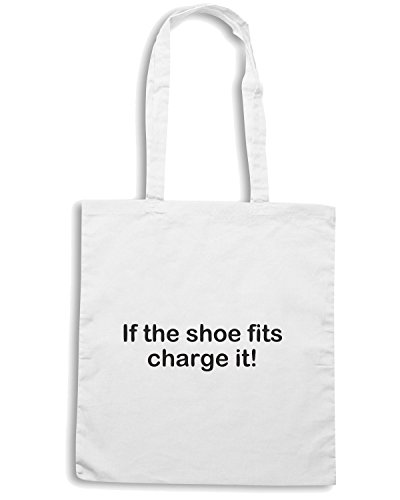 T-Shirtshock - Borsa Shopping TDM00120 if the shoe fits charge it Bianco