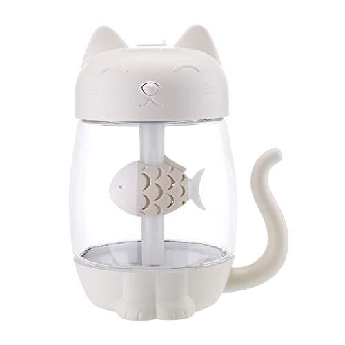 HuaCat Office Home Auto Mini-Katze USB-DREI-in-Eins, Sommer süße Katze ätherisches Öl Dispergierer LED Aroma Luftbefeuchter (Weiß)