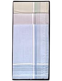 6 Pañuelos de Caballero de la Marca Guasch 100% Algodón colores suaves con lineas mas