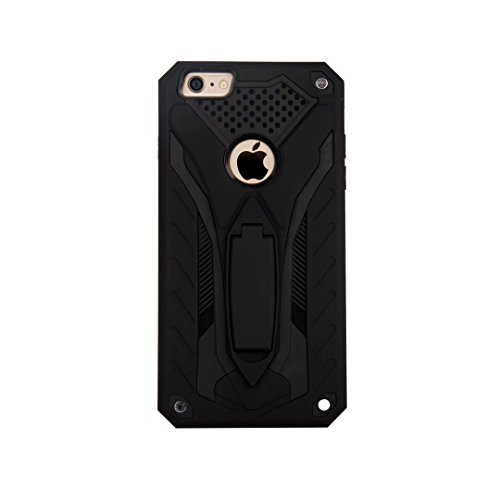 EKINHUI Case Cover Neue Stylish Hybrid Armor Schutzhülle Case Shockproof Dual Layer PC + TPU Back Cover mit Kickstand für [Shock Absorbtion] für iPhone 6 Plus & 6s Plus ( Color : Rosegold ) Black