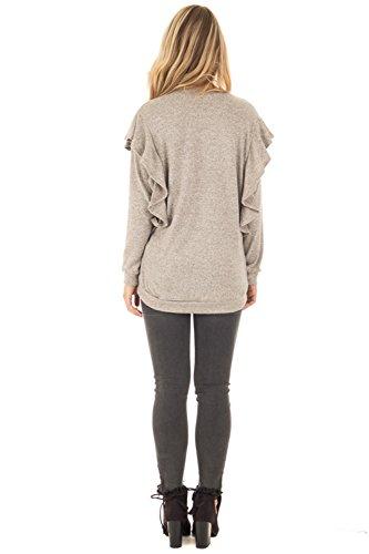 Sexy Manches Longues Manches Chauve-souris Ourlet Volanté Volantée à Volants Woolen Pullover Pull Sweater Jumper Haut Top Gris