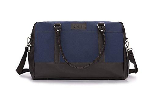 Solier Leder Herren Reisetasche Sporttasche Wochenende Schulter Premium Tasche Premium GOVAN S18 (Schwarz) Blau