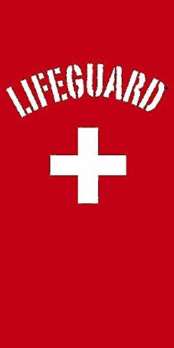 Lifeguard-100% Baumwolle mit Velours-Finish, Strandtuch 76,2x 152,4cm, baumwolle, rot, 30X60 -