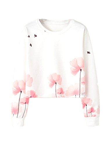 YICHUN Femme Fille Court Tops T-Shirts Tee-Shirt Léger Sweat-shirts Sweaters Pulls Blouse Pull-Overs Jumpers Camisole Fleur 21#