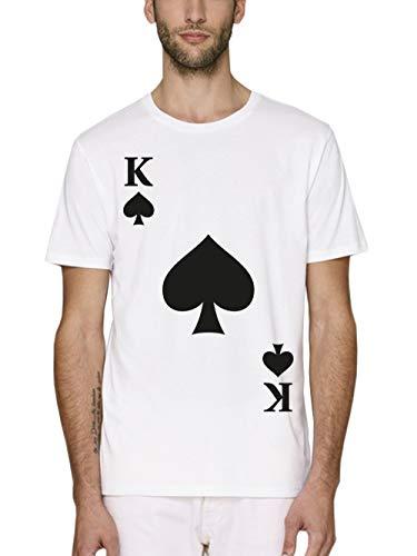 clothinx Herren T-Shirt Bio und Fair Karneval & Fasching Spielkarte Pik König Kostüm Weiß Größe - Pokerspieler Kostüm