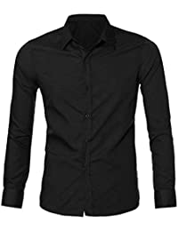 Camisa Mezcla de Algodon Hombre, Manga Larga, Slim Fit, Camisa Elástica Casual/Formal para Hombre