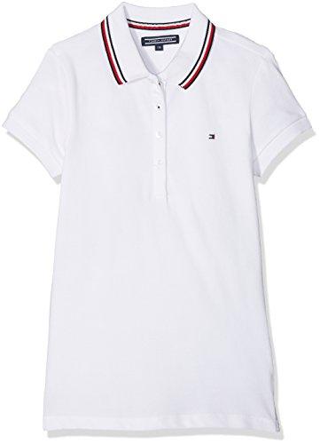 Tommy Hilfiger Mädchen Poloshirt Ame Sweet Polo S/S, Weiß (Bright White 123), 140 (Herstellergröße: 10)