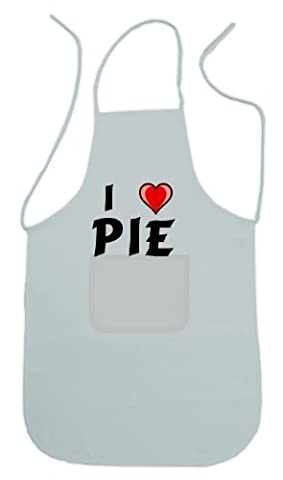 Personalized white apron with text: I love pie by Shopzeus