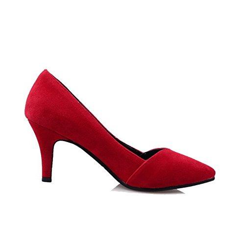 ... VogueZone009 Donna Pelle Di Mucca Puro Tirare Punta Chiusa Scarpe A Punta  Tacco Alto Ballerine Rosso ...