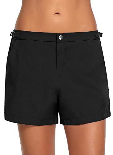 Roskiki Damen Boardshorts, Vorderseite zum Reiβverschluβ Schwarz Größe M - Rash Frauen Guard Für Shorts
