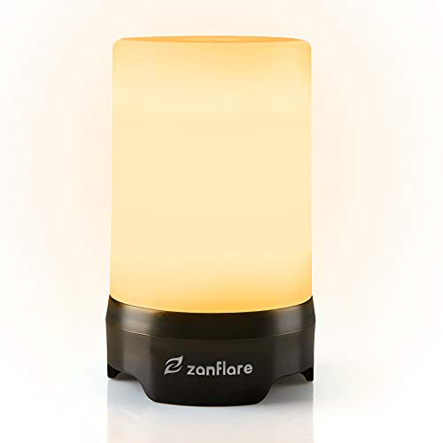 Zanflare Campinglampe LED aufladbar, Camping Laterne tragbar Nachttischlampe Touch dimmbar stufenlos Tischlampe Wasserdicht SOS Notfall Licht mit 18650 Akku für Nachtfischen, Wandern, Stromausfälle