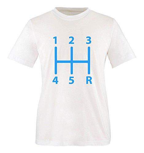 Comedy Shirts - Gangschaltung - Herren T-Shirt - Weiss/Blau Gr. S