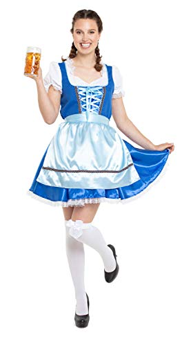 Folat 63297 Oktoberfestkleid/Dirndl klassisch - Camiseta de manga corta, talla S-M, color azul