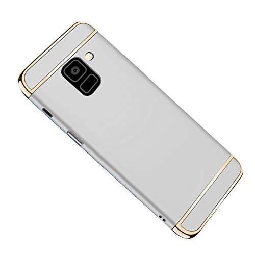 Galaxy A8 2018 Hülle Case, 3-Teilige Extra Dünn Hart Slim Thin Hard Cover Stylich Hochwertig Schutzhülle Schale Handy Hülle für Samsung Galaxy A8 2018 [3 in 1] (Galaxy A8 2018, Silber)
