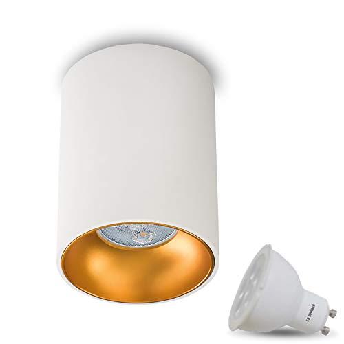 Aufbauleuchte Deckenleuchte Aufputz ASTRAL (Rund,Weiss/Gold) Inkl. 1 x 5W LED Warmweiss DIMMBAR GU10 Fassung 230V Deckenleuchte Strahler Deckenlampe Würfelleuchte CUBE Kronleuchter aus Aluminium Spot