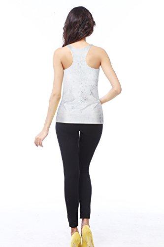 THENICE Damen Reizvolle dünne Muskelshirt ärmellos Schädel T-Shirt Weste Flower Skull