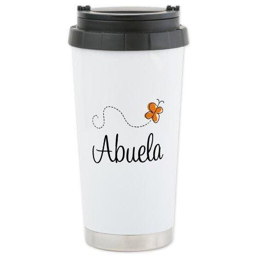 CafePress Abuela Butterfly Ceramic Travel Mug - Standard Multi-color by CafePress