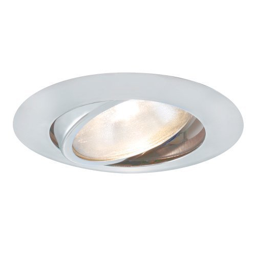 Jesco Lighting TM604WH 6-Inch Aperture Line Voltage Trim Recessed Light, Adjustable Gimbal Ring, White Finish by Jesco Lighting Group -