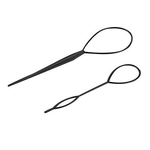 2 piezas Ponytail Creator Plastic Loop Herramientas de peinado Negro Pony topsy Tail Clip Hair Trenz Maker Styling Tool Salon en todo el mundo