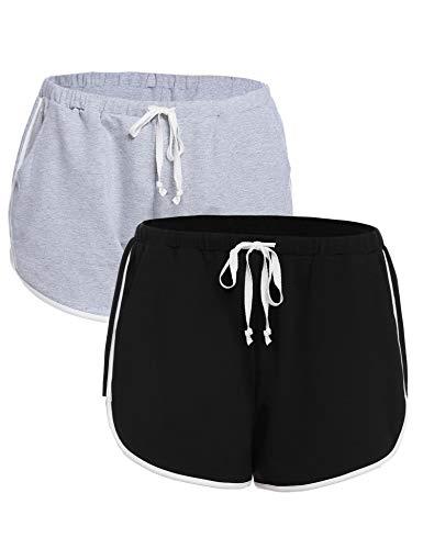iClosam Shorts Damen Kurz Hosen Schlafanzughose Kurz Schlafhose Kurze Baumwolle Pyjamahose Sportshorts Stoffhose für Yoga Sport Jogging Gym Running Beiläufige Elastische
